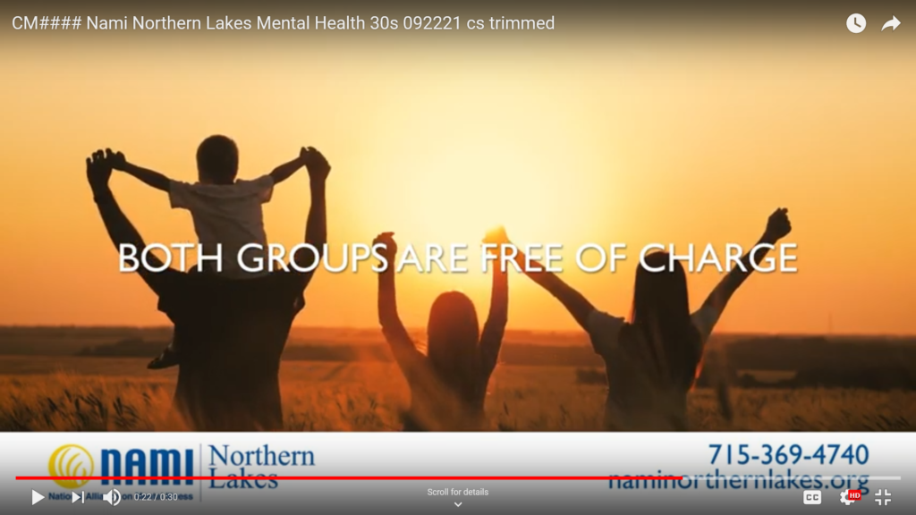 Ad for mental health support groups